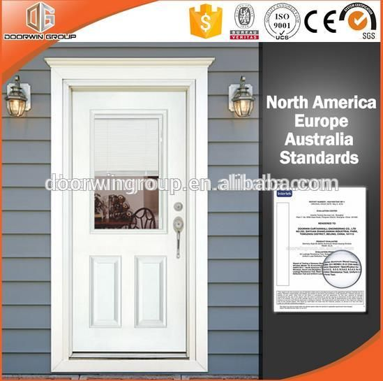 Exterior Aluminum Clad Wood French Door Double Glass Insert Blind Shade  Shutter Inside Factory Price