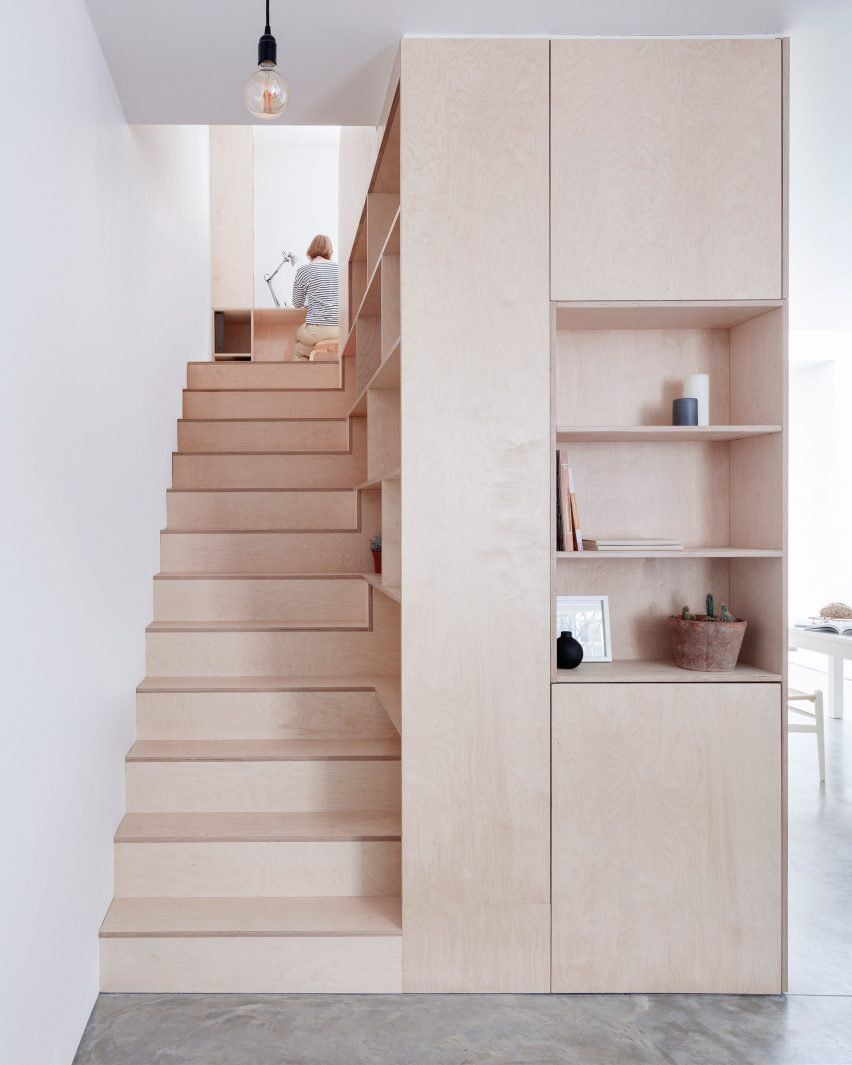 Islington House Interior Plywood Box Staircase Storage Bookshelves Wall Plywood Interior Interior Architecture Design Plywood Kitchen