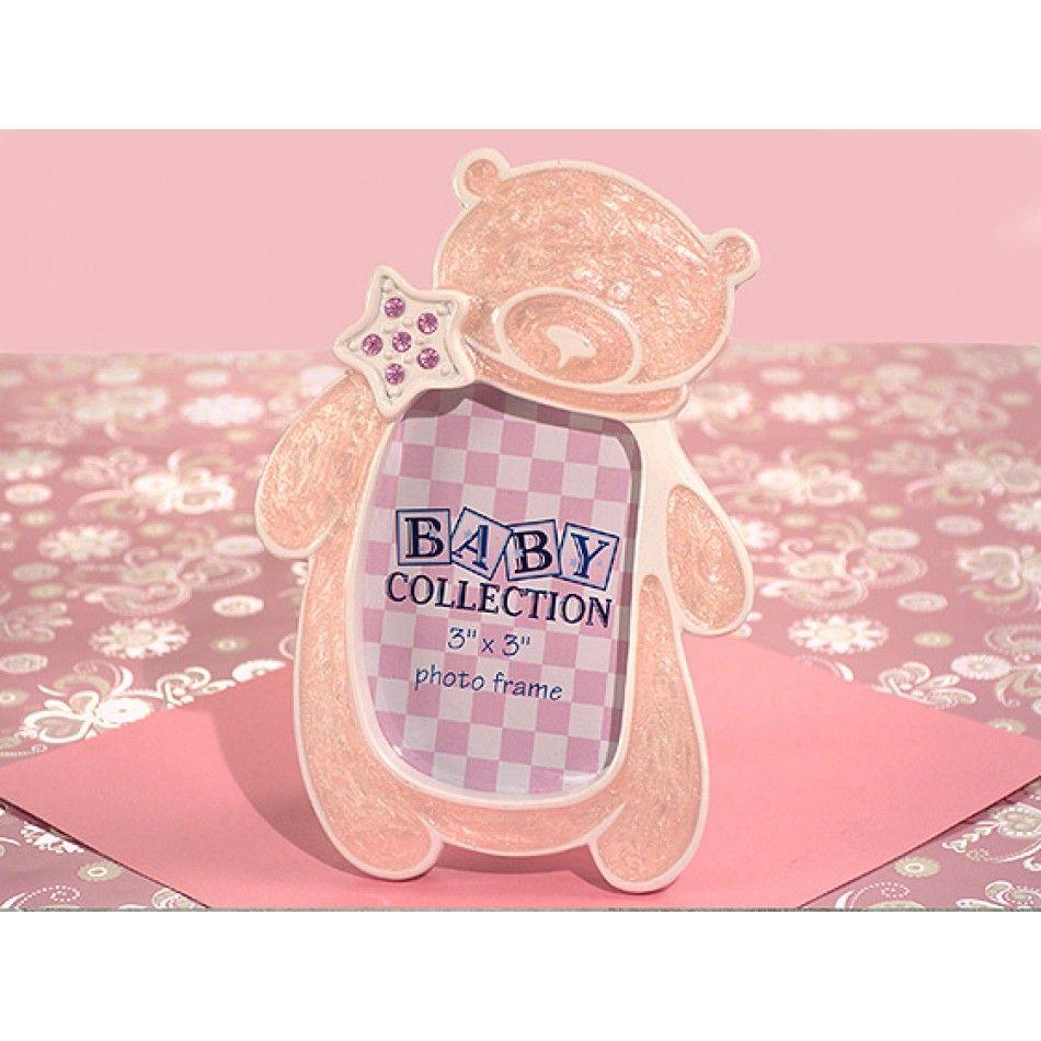 Cute And Cuddly Pink Teddy Bear Frame The elegant pink enamel epoxy ...