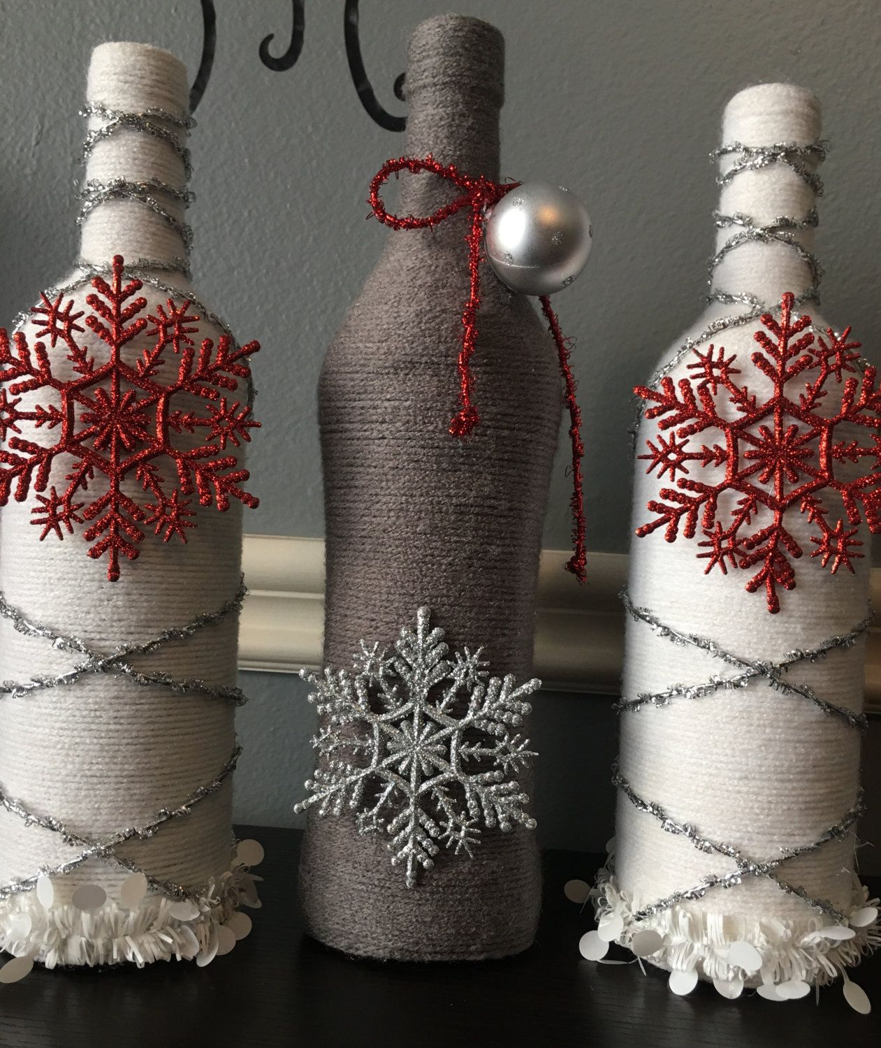 Christmas. Holidays. Wine Bottle Decor. Craft Bottles