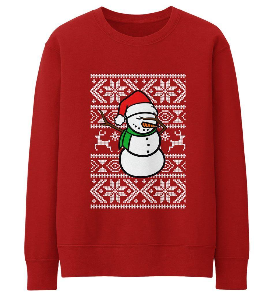 7924f020326d0 Snowman Dabbing Sweater Sweatshirt Jumper Men Dab Funny Dance Christmas Kid  JC21