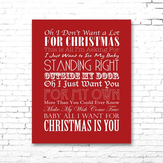 mariah carey all i want for christmas is you printable lyrics artwork red - All I Want For Christmas Is You Mariah Carey Lyrics