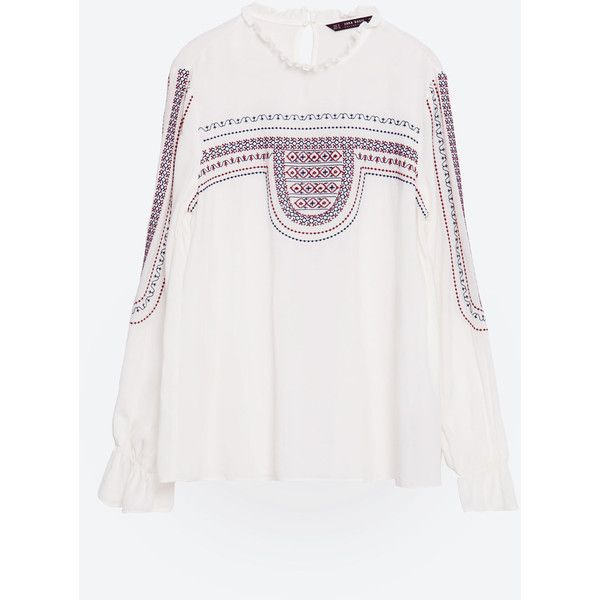 31b8dcbcd1571 Zara Embroidered Blouse ( 50) ❤ liked on Polyvore featuring tops ...