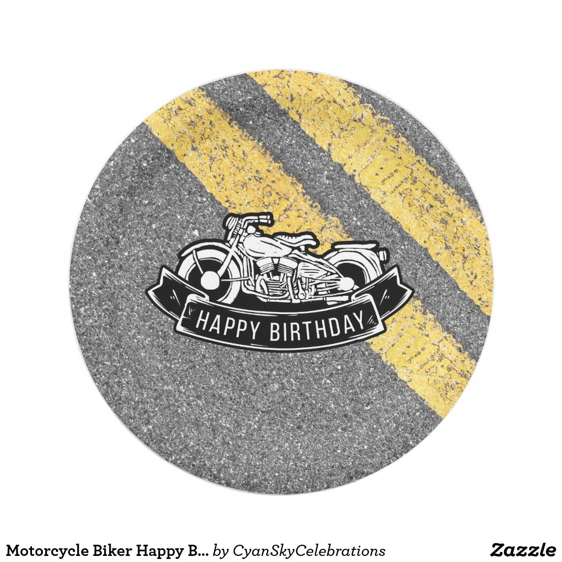 Motorcycle Biker Happy Birthday Party Serving Paper Plate  sc 1 st  Pinterest & Motorcycle Biker Happy Birthday Party Serving Paper Plate | Happy ...