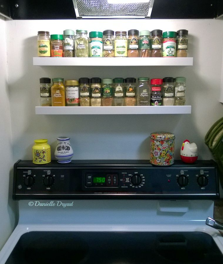 Two Ribba 21 Picture Ledges From Ikea Make The Perfect Over The Stove Spice Racks Ikea Spice Rack Diy Kitchen Remodel Ikea Kitchen Remodel