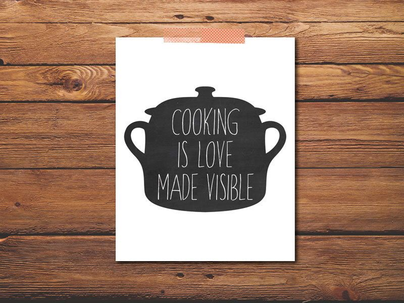 Download PRINTABLE - Kitchen Poster - Cooking is Love Made Visible ...