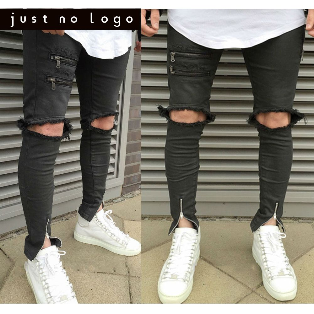 0ecc971ed55c Men Black Big Destroyed Knee Holes Jeans Ankle Zipper Ripped Skinny fit Torn  Biker Pants Worn Distressed Jogger Trousers
