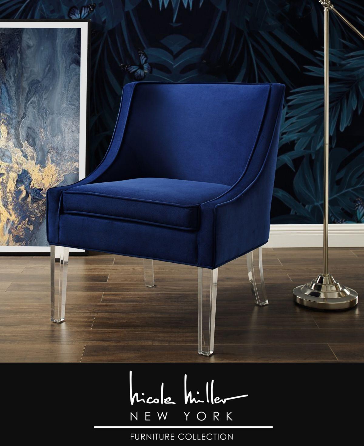 Nicole Miller Aurelie Velvet Accent Chair with Acrylic