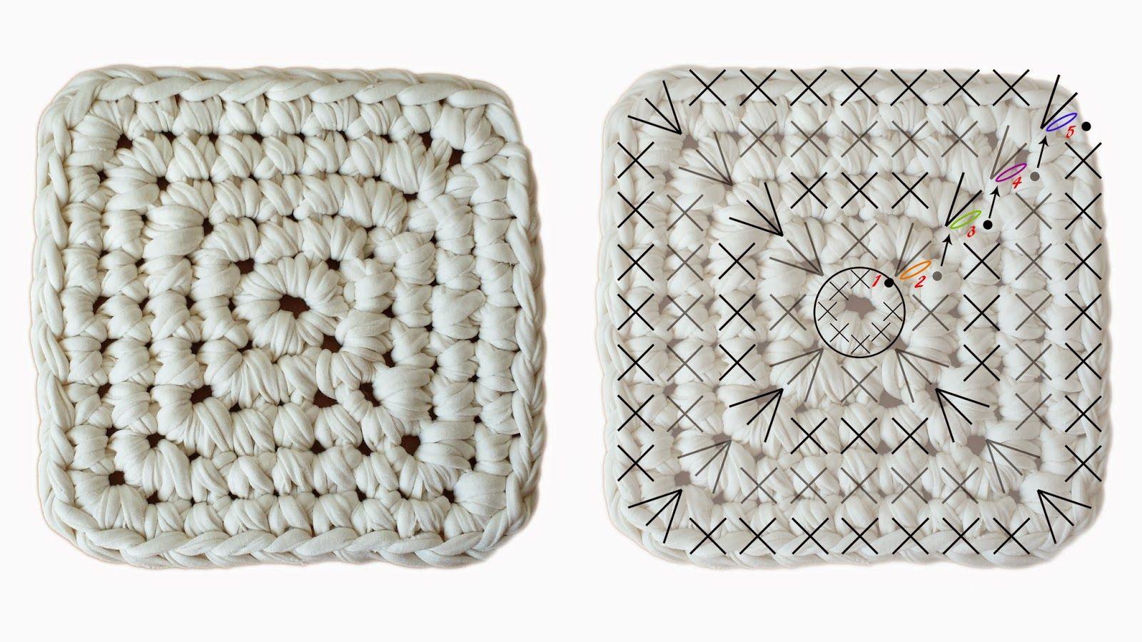 patrón base cesto cuadrado trapillo | cojines | Pinterest | Crochet ...