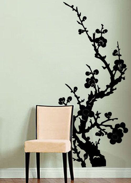 Chinese Floral Wall Decals Vinyl Art Sticker Floral - Vinyl wall decals asian