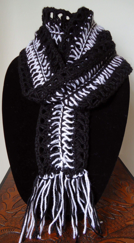 Crochet   Bufanda en Punto Zebra Moda Crochet 2ddf11f418d