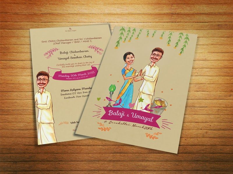 illustrated wedding card for south indian chettinad marriage ...