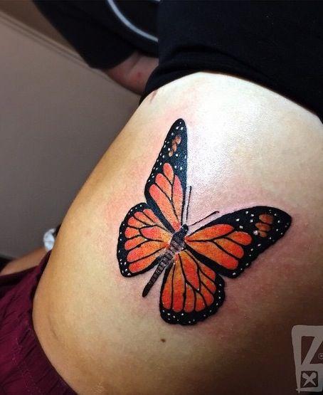 Realistic Butterfly Tattoo I Got On My Ribs With Color I Love It Realistic Butterfly Tattoo Butterfly Tattoo Butterfly Back Tattoo