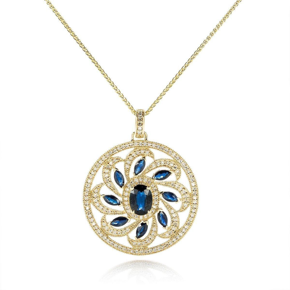 Gold diamond sapphire pendant necklace jewellery pattern