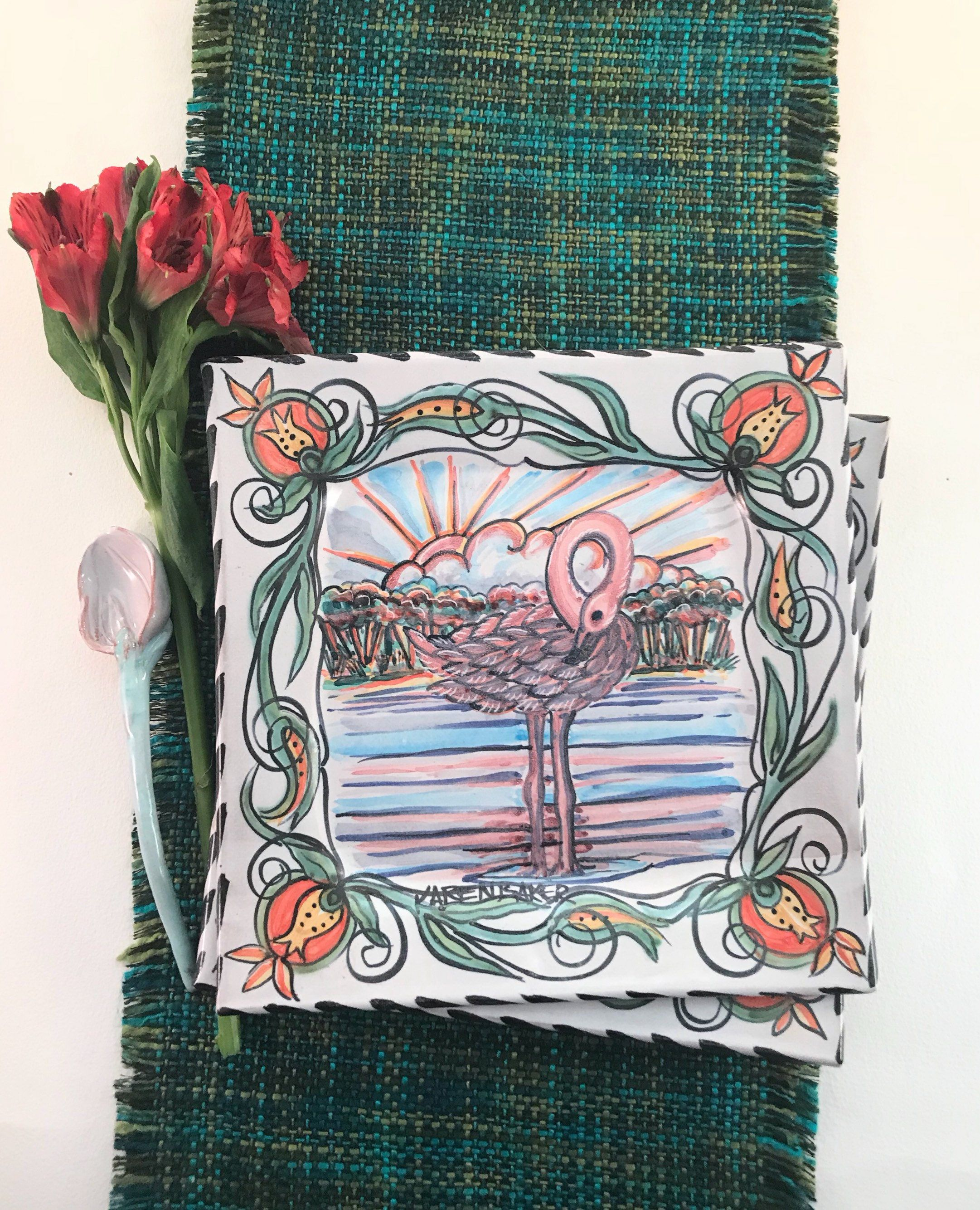 Majolica Flamingo Tray Florida Landscapes Hand Painted Pottery Square Terracotta Clay Sun Rise On Hand Painted Pottery Hand Painted Majolica Pottery