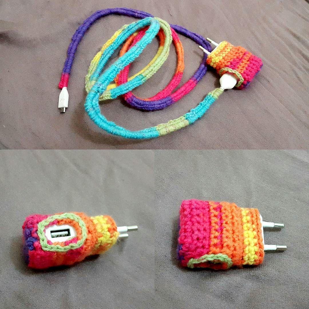 #yarnbombing my phone charger #crochet #crochetconcupiscence #crochetaddict #crochetersofinstagram #yarn inspiration from @yarnutopiabynadiafuad crochet earbud cords #yarnutopia #yarnutopiabynadiafuad by owiw.ailirpa