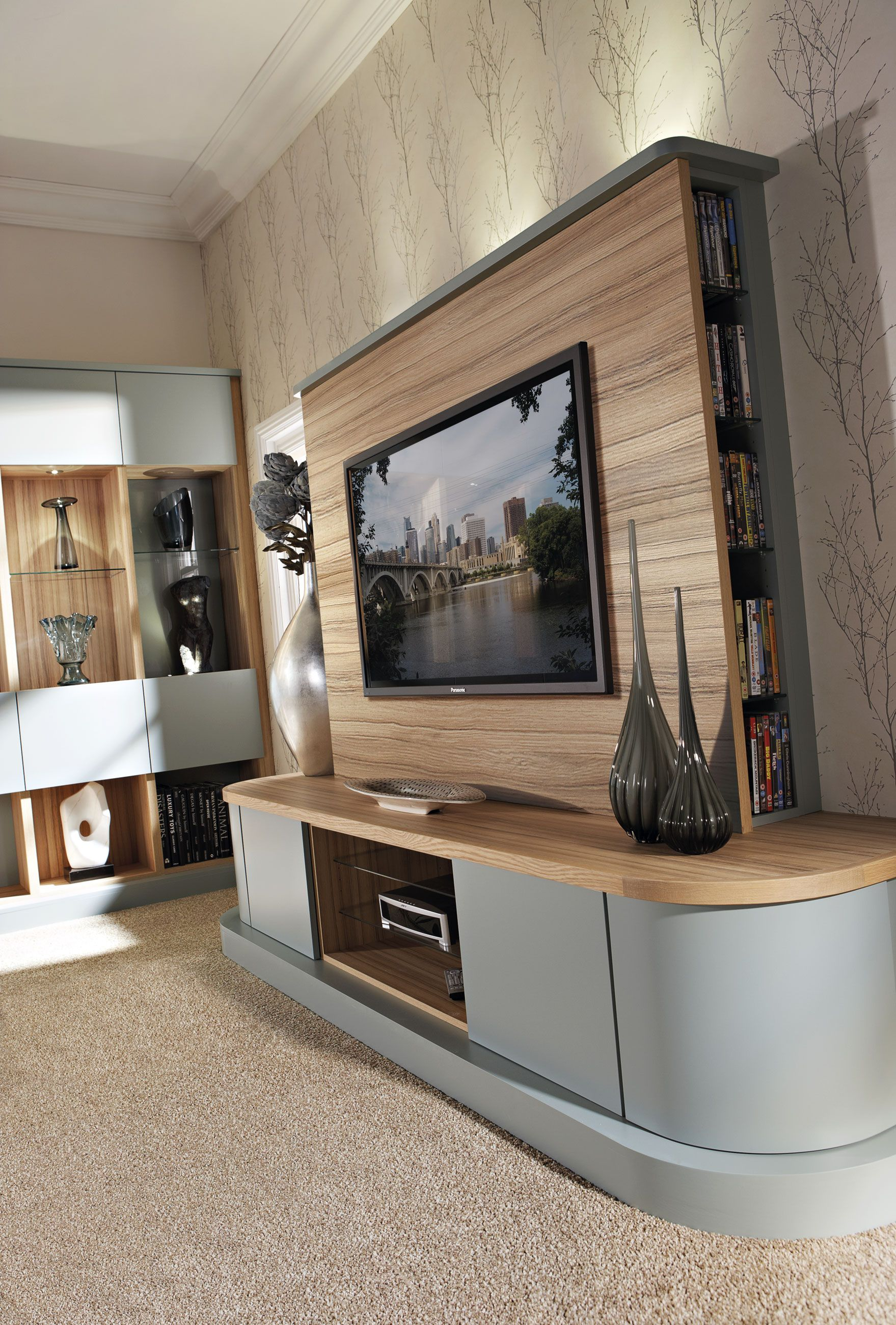 Tv Unit In Living Room: Contemporary Grey Fitted Lounge Furniture With Bespoke TV