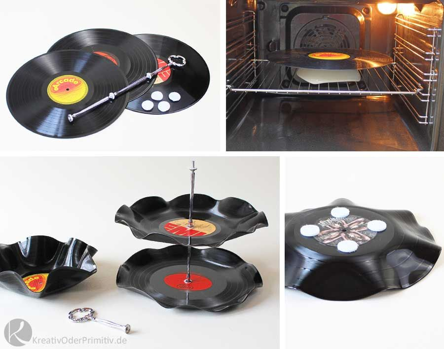 schallplatten vinyl cd etagere sch ssel schmelzen backofen diy anleitung grad recycling. Black Bedroom Furniture Sets. Home Design Ideas