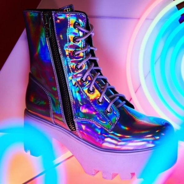 59363a48239 Current Mood Chiller Holographic Platform Boots ( 88) ❤ liked on Polyvore  featuring shoes