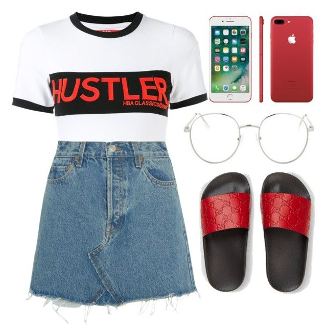 """Untitled #187"" by parkaiagogona ❤ liked on Polyvore featuring Hood by Air, RE/DONE, Gucci and Topshop"