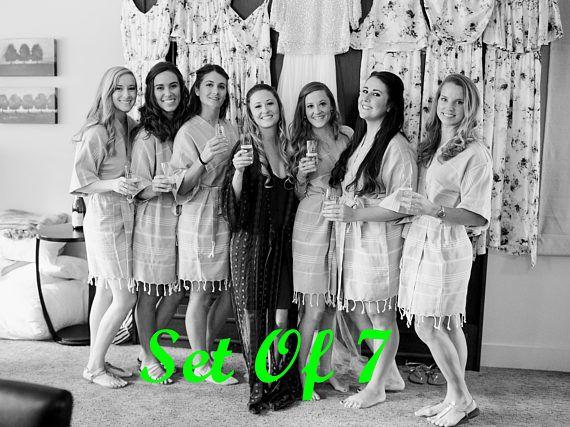 Set Of 7 bridesmaid robes  turkish kimono kaftan robes  bachelorette robes  beach party robes  turkish bathrobe