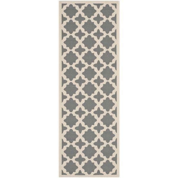 Safavieh Indoor/ Outdoor Courtyard Geometric-pattern Anthracite/ Beige Rug (2'3'' x 6'7'') - Overstock™ Shopping - Great Deals on Safavieh Runner Rugs