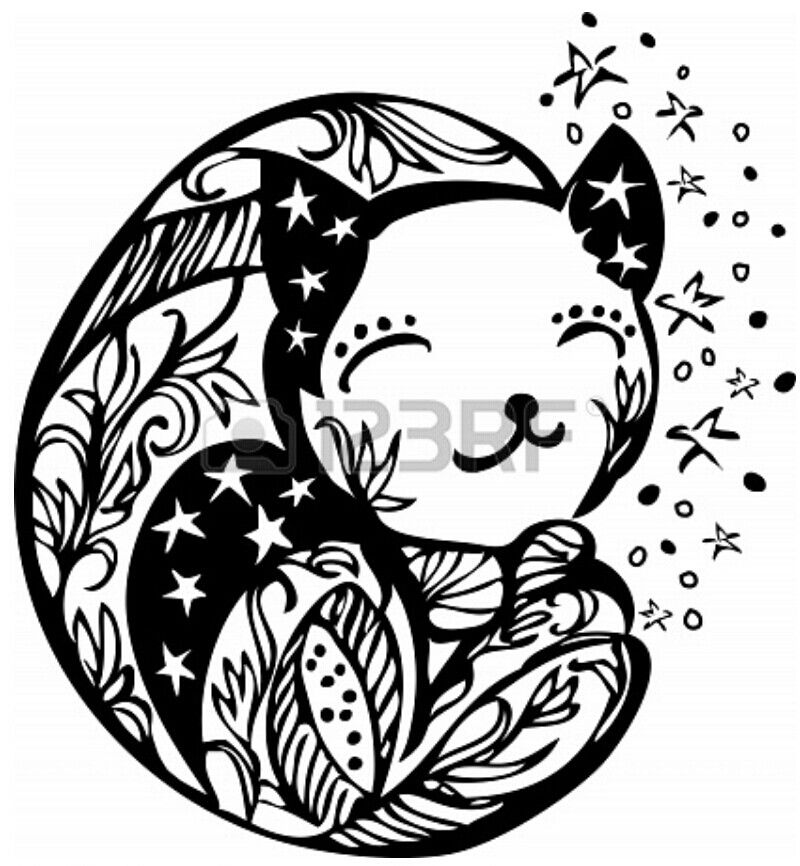 Sleeping Moon Cat Template/ Stencil. Great for a Mural in Childs ...