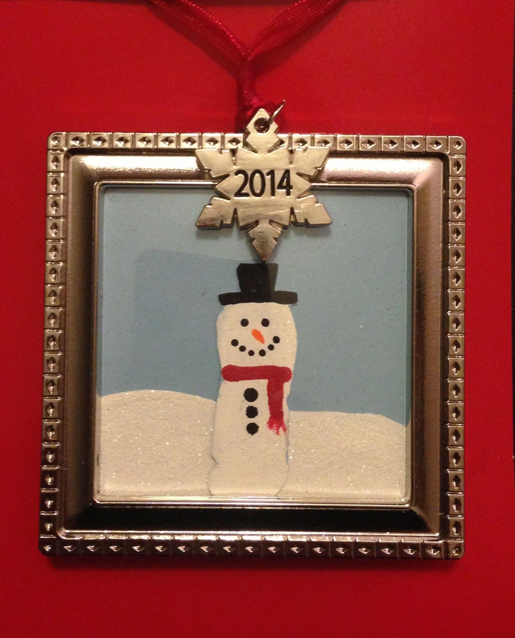 Fingerprint Snowman Ornament Craft Visit