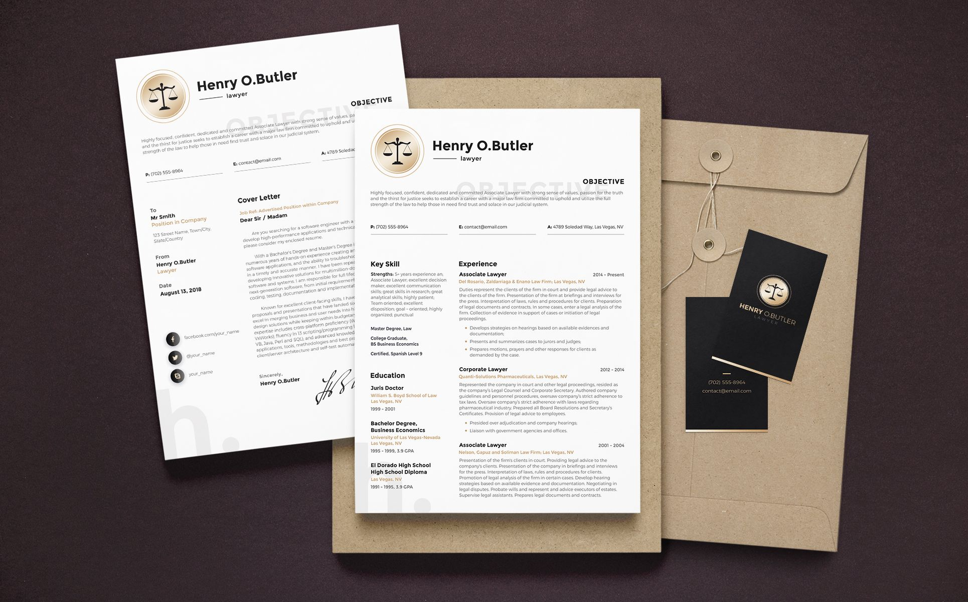 Henry O. Butler - Lawyer Resume Template | design | Resume ...