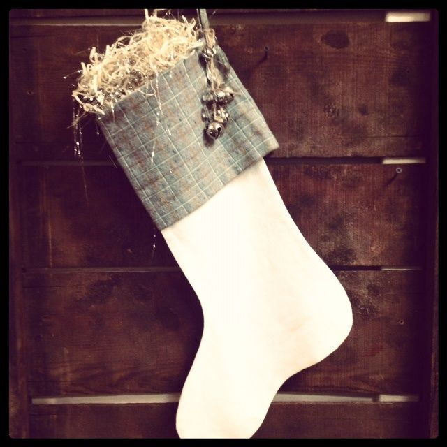 19th Century French Linen stockings. #linen #plaid #stocking #christmas #bells #tinsel