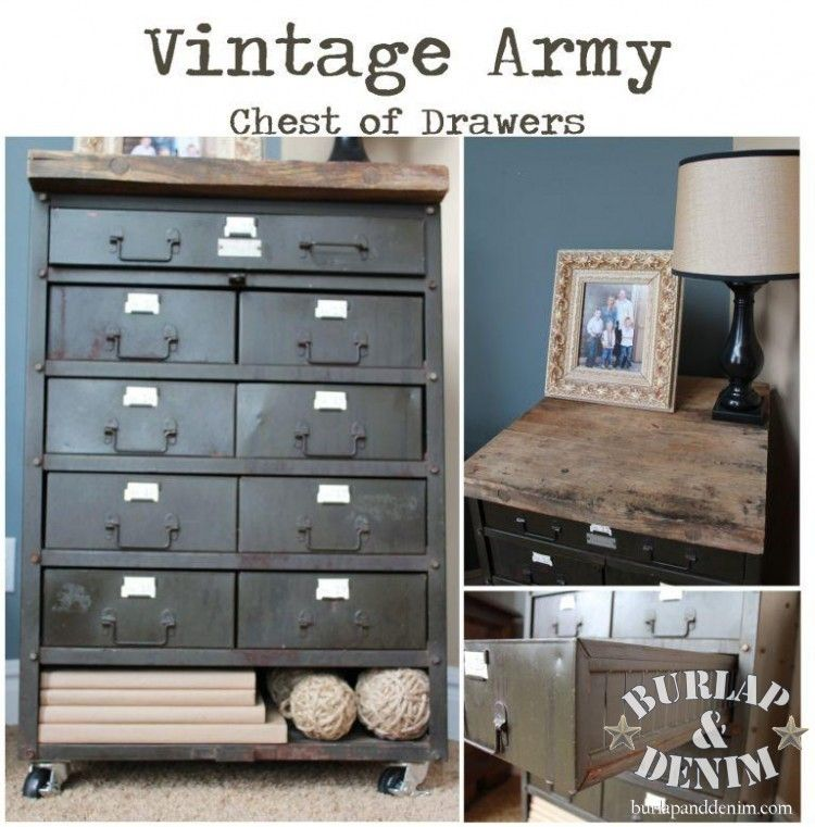 vintage army chest of drawers
