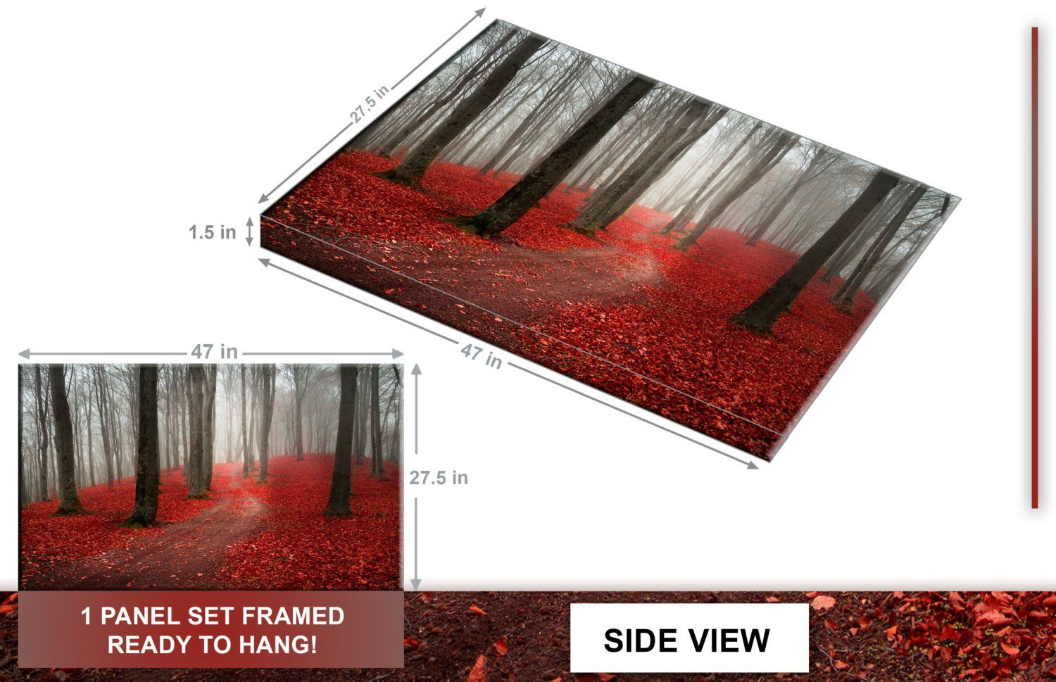 Modern large tree painting black white red forest landscape canvas