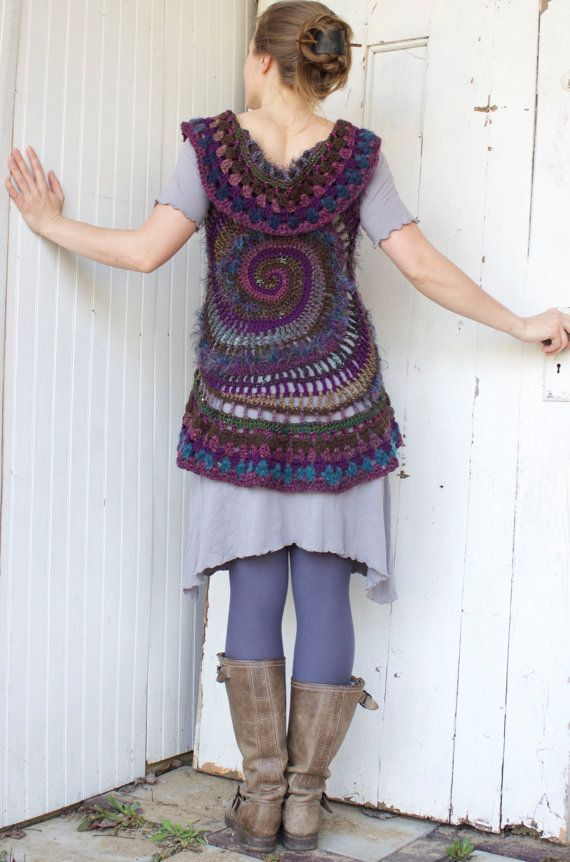 bohochic purple & blue Freeform crochet by starlilycreations