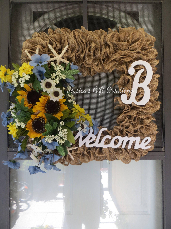Made To Order Sunflower Burlap Wreathbeach Wreathdoor Wreathfront