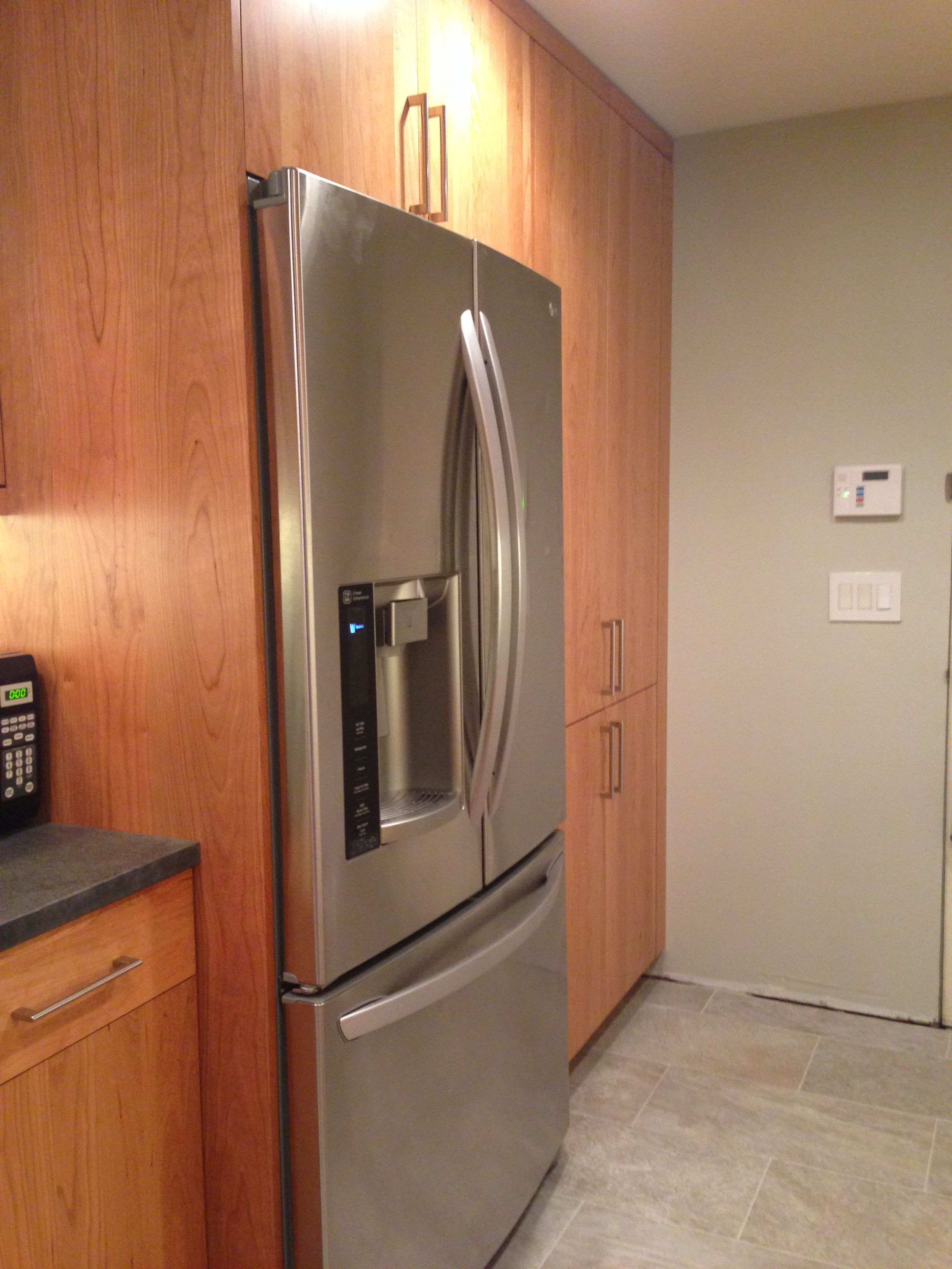 Dewils Capella Natural Cherry Cabinets Lg French Door Fridge Fridge French Door Cherry Cabinets French Doors
