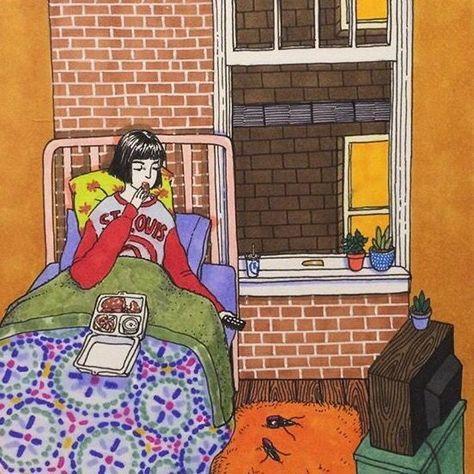 Ilustraciones Sally Nixon chica comiendo pizza en la cama
