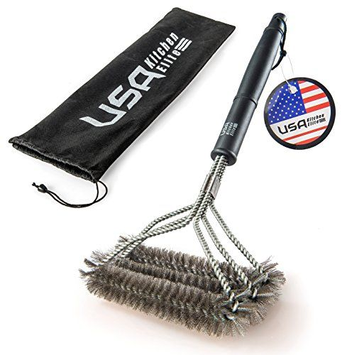 BBQ #GRILL BRUSH: New and Improved! WIDE BRUSH HEAD WITH THREE THICK BRUSHES Do you love grilling outdoors, but find the cleaning of stuck and burnt on grease an...