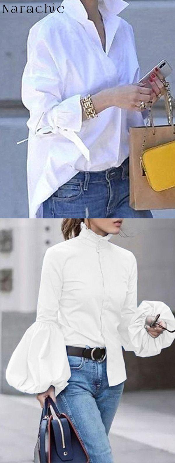 Vendita calda ora! Top di camicetta casual casual giornaliero bianco
