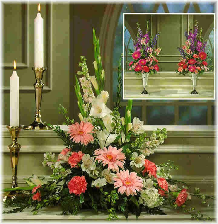 Wedding Church Altar Arrangements: Flower Arrangement For Reception And Altar