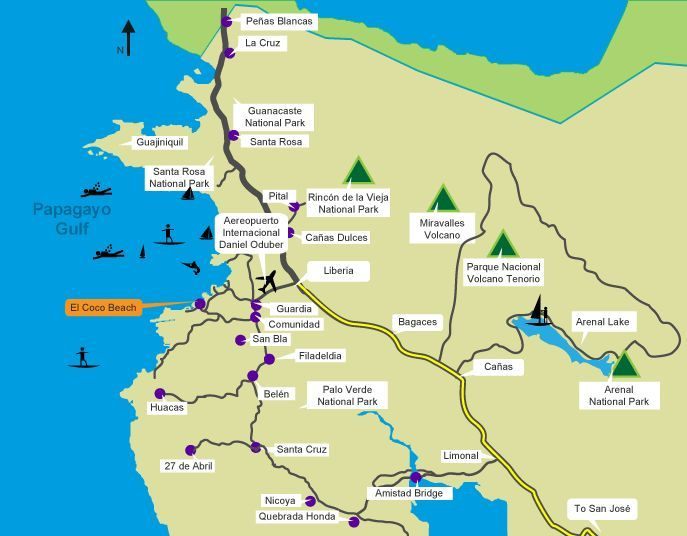 What to Do in Guanacaste Costa Rica | this is a map of northern ...