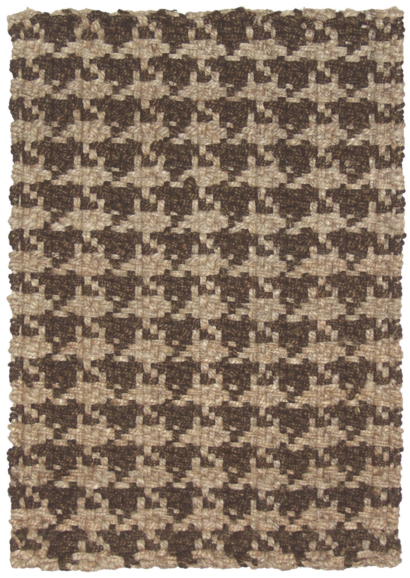 Clic Home Houndstooth Brown Transitional Rug Jute And Sisal Rugs Area By Material