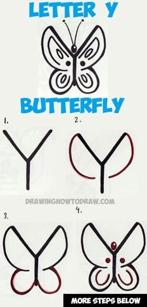 How To Draw A Butterfly From The Letter Y Easy Step By Step Drawing Tutorial By Shell Drawing Tutorials For Kids Easy Drawings For Kids Step By Step Drawing