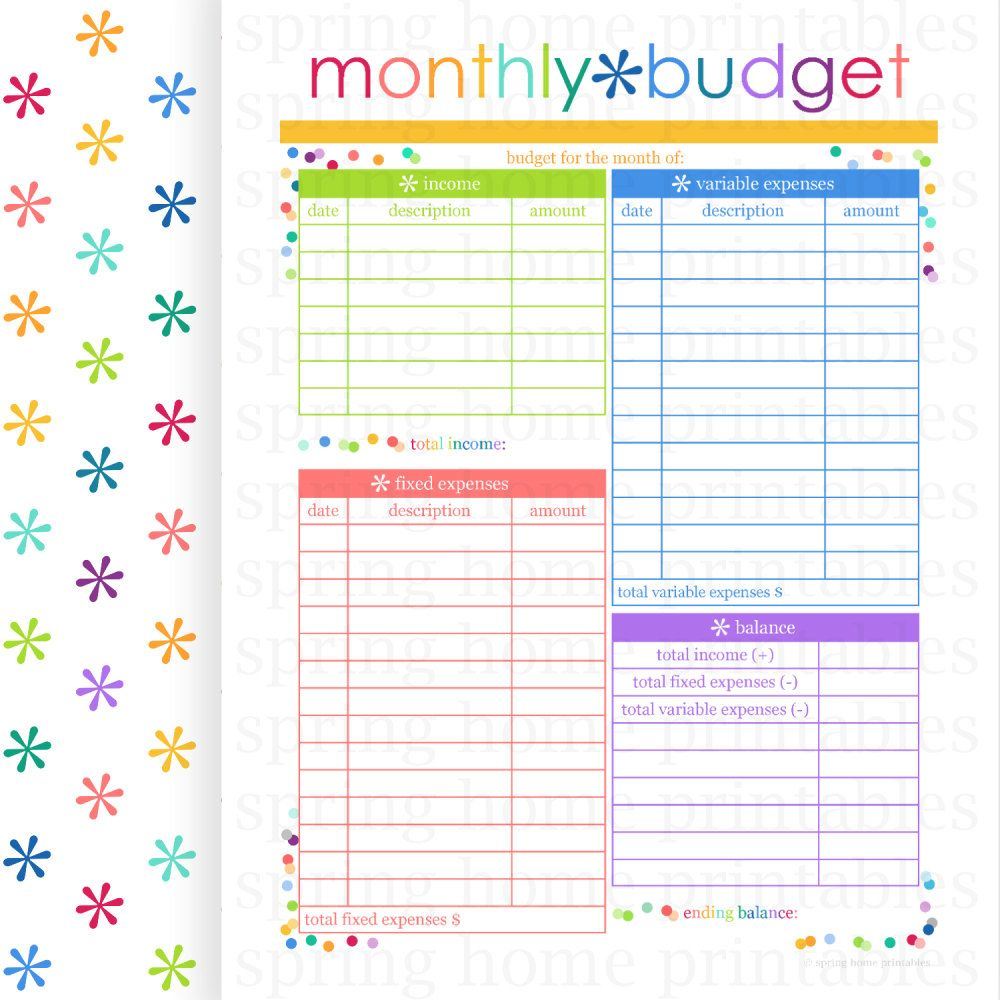 Monthly Budget Budget Planner Printable Budget Bill Organizer