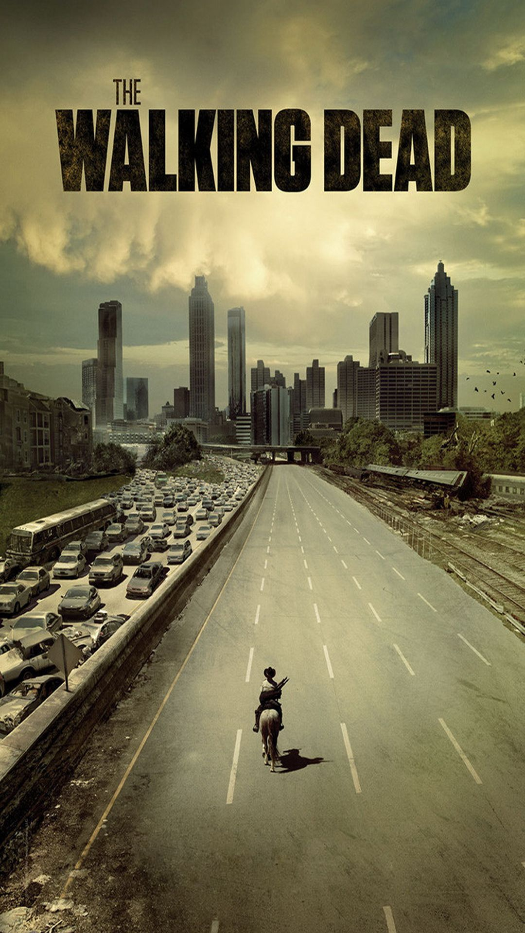↑↑TAP AND GET THE FREE APP! Movies The Walking Dead Rick Grimes Yellow Series Poster Zombies Horror Action AMC City Skyline Road Highway HD iPhone 6 plus Wallpaper