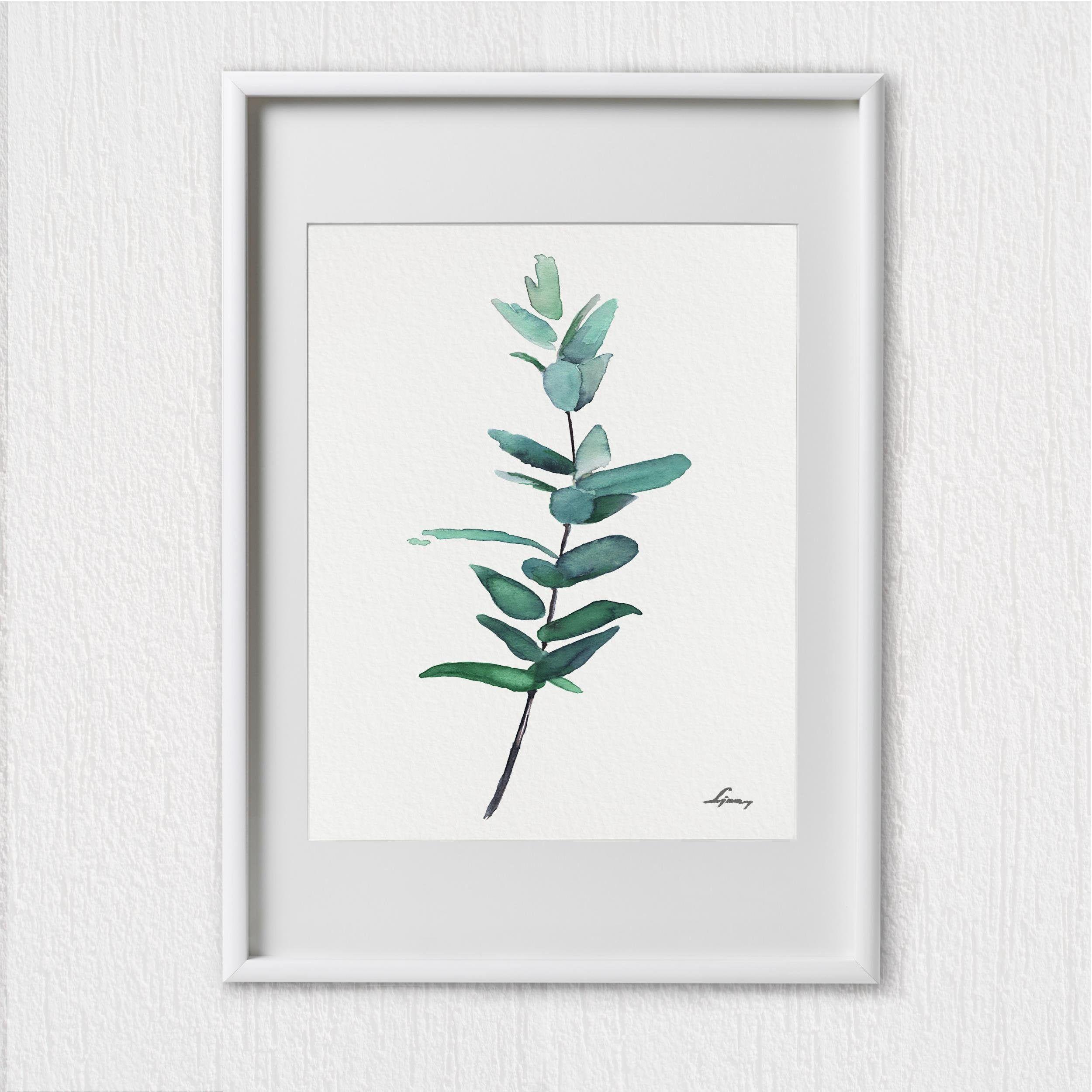Eucalyptus Art Print Set 3 Green Plant Watercolor Painting