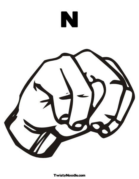 Sign Language Letter N Coloring Page, love these coloring pages ...
