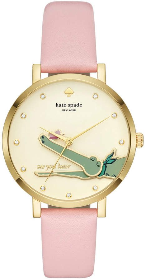 7a4dd5421a1 Kate Spade Women s Monterrey Pink Leather Strap Watch 38mm