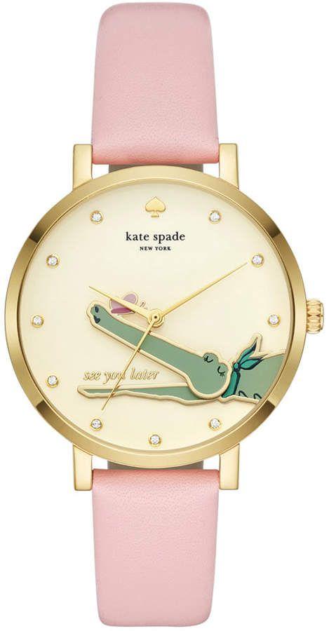 7a4dd5421a1 Kate Spade Women s Monterrey Pink Leather Strap Watch 38mm