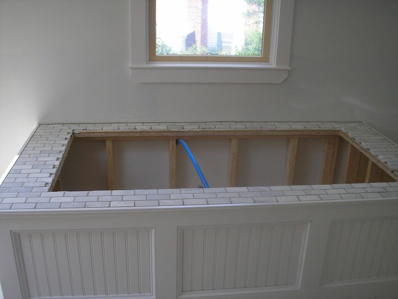 tile tub surround for soaking tub with marble surround