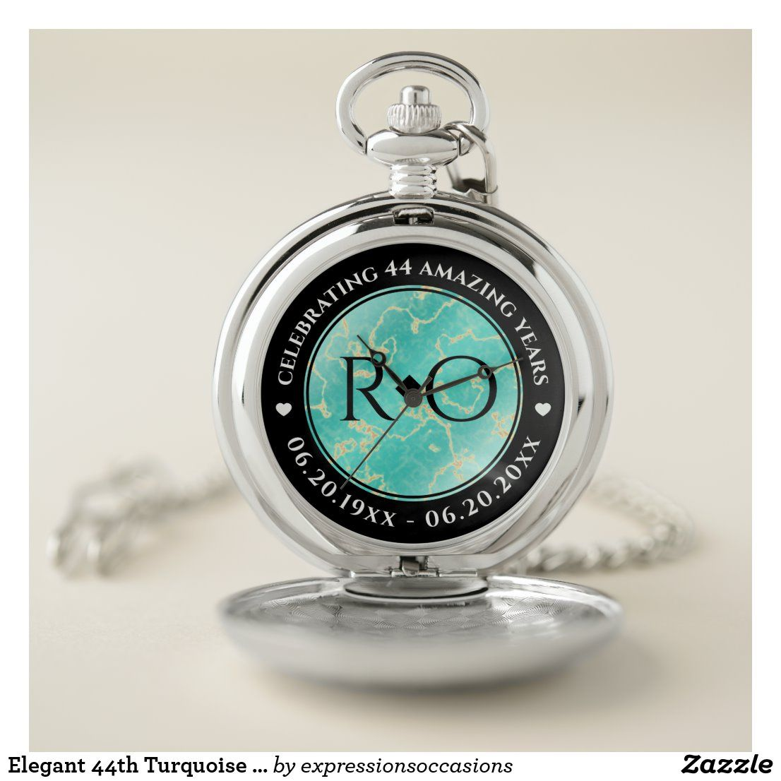 Elegant 11th 44th Turquoise Wedding Anniversary Pocket